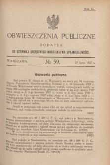 Obwieszczenia Publiczne : dodatek do Dziennika Urzędowego Ministerstwa Sprawiedliwości. R.11, № 59 (23 lipca 1927)