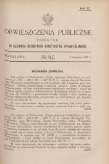 Obwieszczenia Publiczne : dodatek do Dziennika Urzędowego Ministerstwa Sprawiedliwości. R.11, № 62 (3 sierpnia 1927)