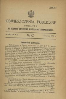 Obwieszczenia Publiczne : dodatek do Dziennika Urzędowego Ministerstwa Sprawiedliwości. R.11, № 72 (7 września 1927)