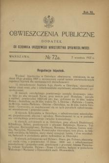 Obwieszczenia Publiczne : dodatek do Dziennika Urzędowego Ministerstwa Sprawiedliwości. R.11, № 72 A (7 września 1927)