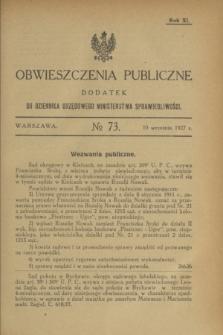 Obwieszczenia Publiczne : dodatek do Dziennika Urzędowego Ministerstwa Sprawiedliwości. R.11, № 73 (10 września 1927)