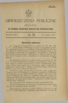 Obwieszczenia Publiczne : dodatek do Dziennika Urzędowego Ministerstwa Sprawiedliwości. R.11, № 78 (28 września 1927)