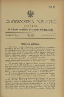 Obwieszczenia Publiczne : dodatek do Dziennika Urzędowego Ministerstwa Sprawiedliwości. R.11, № 93 (19 listopada 1927)