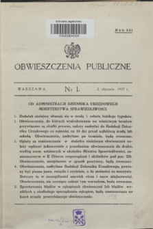 Obwieszczenia Publiczne. R.21, № 1 (2 stycznia 1937)