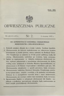 Obwieszczenia Publiczne. R.21, № 2 (5 stycznia 1937)