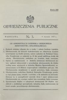Obwieszczenia Publiczne. R.21, № 3 (10 stycznia 1937)