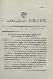 Obwieszczenia Publiczne. R.21, № 5 (16 stycznia 1937)
