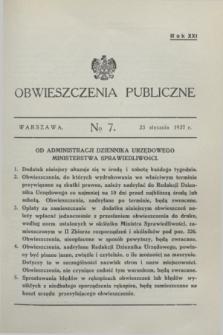 Obwieszczenia Publiczne. R.21, № 7 (23 stycznia 1937)