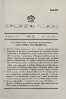 Obwieszczenia Publiczne. R.21, № 8 (27 stycznia 1937)