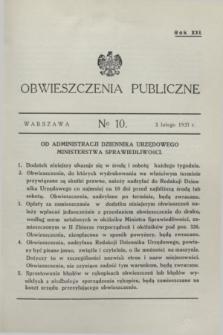 Obwieszczenia Publiczne. R.21, № 10 (3 lutego 1937)