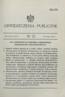 Obwieszczenia Publiczne. R.21, № 12 (10 lutego 1937)