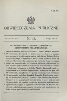 Obwieszczenia Publiczne. R.21, № 13 (13 lutego 1937)
