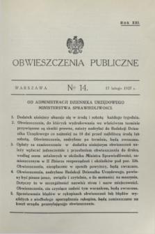 Obwieszczenia Publiczne. R.21, № 14 (17 lutego 1937)