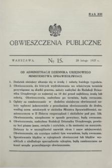 Obwieszczenia Publiczne. R.21, № 15 (20 lutego 1937)