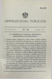 Obwieszczenia Publiczne. R.21, № 16 (24 lutego 1937)