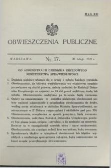 Obwieszczenia Publiczne. R.21, № 17 (27 lutego 1937)