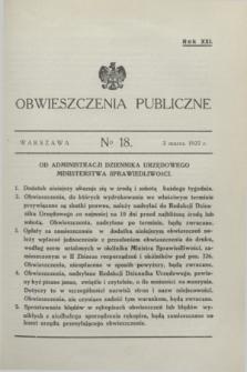 Obwieszczenia Publiczne. R.21, № 18 (3 marca 1937)