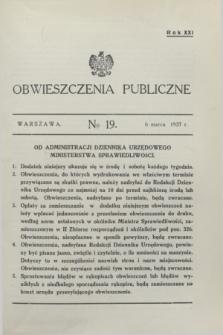 Obwieszczenia Publiczne. R.21, № 19 (6 marca 1937)