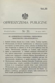Obwieszczenia Publiczne. R.21, № 20 (10 marca 1937)