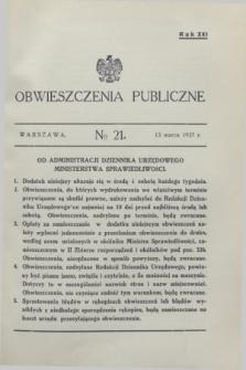Obwieszczenia Publiczne. R.21, № 21 (13 marca 1937)