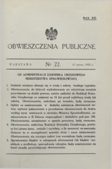 Obwieszczenia Publiczne. R.21, № 22 (17 marca 1937)