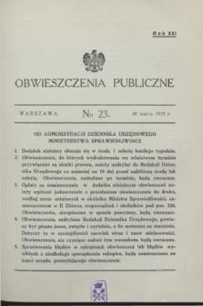 Obwieszczenia Publiczne. R.21, № 23 (20 marca 1937)