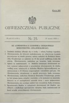 Obwieszczenia Publiczne. R.21, № 25 (27 marca 1937)