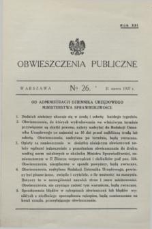Obwieszczenia Publiczne. R.21, № 26 (31 marca 1937)