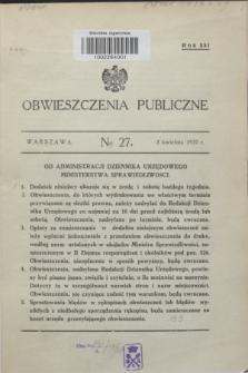 Obwieszczenia Publiczne. R.21, № 27 (3 kwietnia 1937)