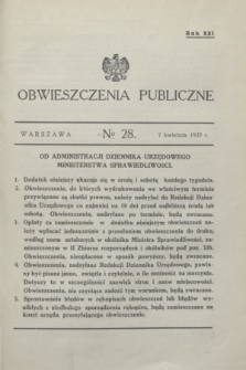 Obwieszczenia Publiczne. R.21, № 28 (7 kwietnia 1937)