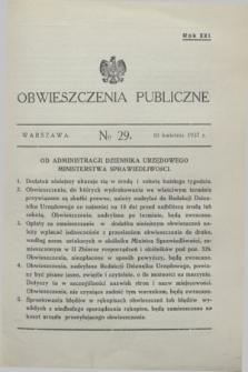 Obwieszczenia Publiczne. R.21, № 29 (10 kwietnia 1937)