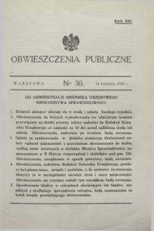 Obwieszczenia Publiczne. R.21, № 30 (14 kwietnia 1937)