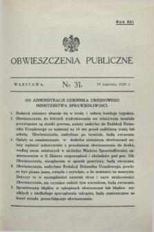 Obwieszczenia Publiczne. R.21, № 31 (17 kwietnia 1937)