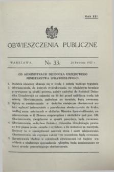Obwieszczenia Publiczne. R.21, № 33 (24 kwietnia 1937)
