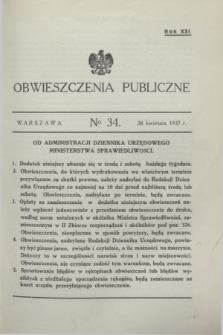 Obwieszczenia Publiczne. R.21, № 34 (28 kwietnia 1937)