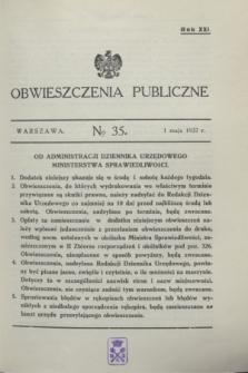 Obwieszczenia Publiczne. R.21, № 35 (1 maja 1937)