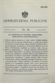 Obwieszczenia Publiczne. R.21, № 36 (5 maja 1937)
