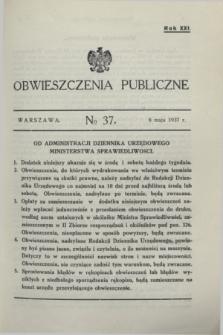 Obwieszczenia Publiczne. R.21, № 37 (8 maja 1937)