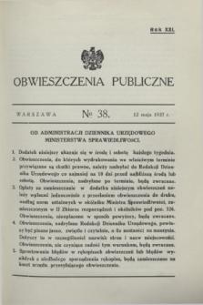 Obwieszczenia Publiczne. R.21, № 38 (12 maja 1937)
