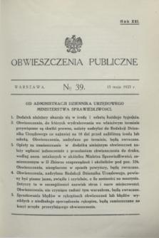 Obwieszczenia Publiczne. R.21, № 39 (15 maja 1937)