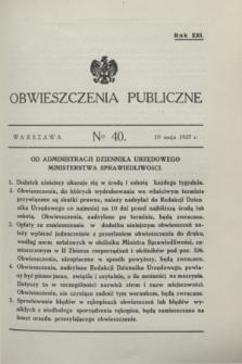 Obwieszczenia Publiczne. R.21, № 40 (19 maja 1937)