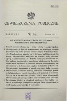 Obwieszczenia Publiczne. R.21, № 42 (26 maja 1937)