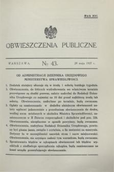 Obwieszczenia Publiczne. R.21, № 43 (29 maja 1937)