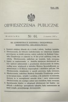 Obwieszczenia Publiczne. R.21, № 44 (2 czerwca 1937)