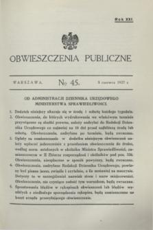 Obwieszczenia Publiczne. R.21, № 45 (5 czerwca 1937)