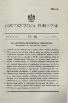Obwieszczenia Publiczne. R.21, № 46 (9 czerwca 1937)