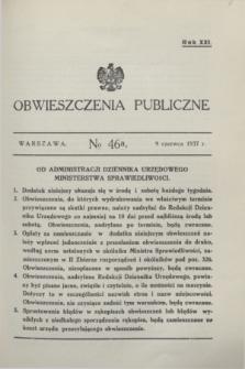 Obwieszczenia Publiczne. R.21, № 46 a (9 czerwca 1937)