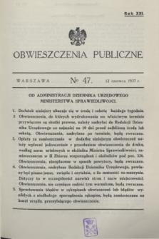 Obwieszczenia Publiczne. R.21, № 47 (12 czerwca 1937)