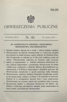 Obwieszczenia Publiczne. R.21, № 48 (16 czerwca 1937)