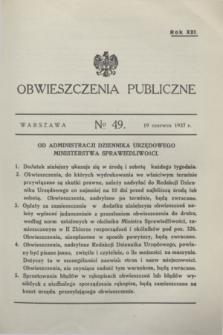 Obwieszczenia Publiczne. R.21, № 49 (19 czerwca 1937)